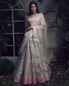 15+ Silver Bridal Lehengas We Are Currently Crushing On! | ShaadiSaga Indian Wedding Outfits, Bridal Outfits, Indian Outfits, Bridal Dresses, Indian Weddings, Indian Attire, Indian Ethnic Wear, Bridal Lehenga Choli, Lehenga Wedding