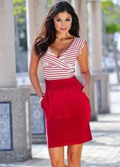 Vestido Listrado Vermelho/Branco - Posthaus