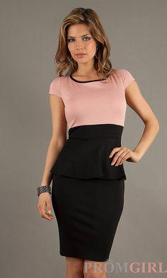 Short Peplum Dress with Short Sleeves