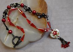 "Red & Black Valentine 22"" Necklace With Free Matching Earrings + Free USA Shipping by SusanLaCroixJewelry on Etsy!  SOLD!"
