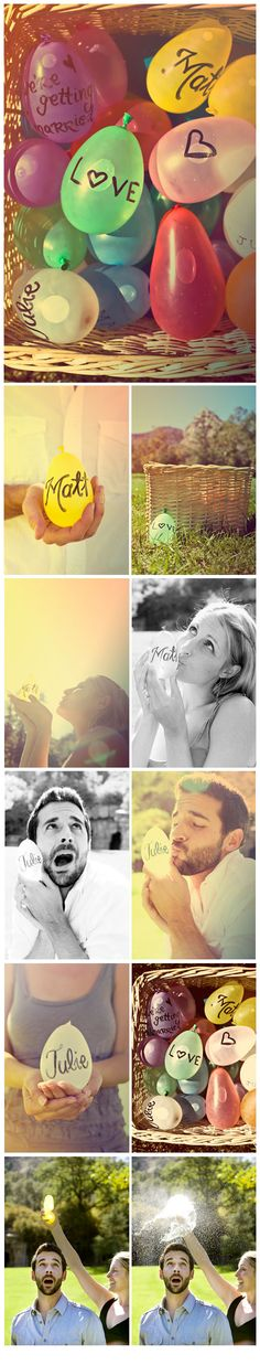 Water balloon engagement photoshoot. Very creative, and fun! Unique! :D I absolutely love this.