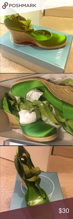Nine West Wedges Beautiful Green Wedges! Great for colorful fun!!! So cute Nine West Shoes Wedges