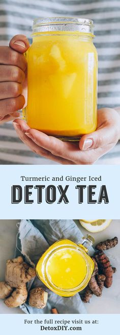 The Best Turmeric Ginger Tea – My Favorite Iced Detox Tea Recipe (YUM!) : This iced turmeric and ginger detox tea is not only my favorite iced detox tea, but my favorite iced tea to drink in general! So refreshing and cleansing. Love this recipe. Detox Tea Diet, Detox Diet Drinks, Smoothie Detox, Detox Juices, Detox Foods, Smoothies, Ginger Detox, Lemon Detox, Tumeric Detox