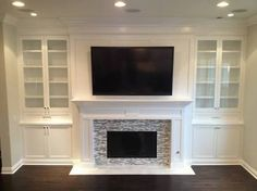 built in cupboards around fireplace for dinning room remodel. Built In Shelves Living Room, Interior Design And Construction, Contemporary Fireplace, Bookshelves Around Fireplace, House, Built In Around Fireplace, Fireplace, Living Room Decor Fireplace, New Homes