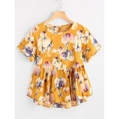Flower Print Keyhole Back Dip Hem Smock Blouse ($7.99) ❤ liked on Polyvore featuring tops, blouses, multicolor, short sleeve tops, short sleeve peplum top, short-sleeve blouse, floral-print blouses and ruffle sleeve top