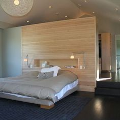 main bedroom timber feature wall with recess - Google Search