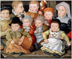 marvellous portrait of an Austrian mother with her eight children, attributed to the circle of Jakob Seisenegger and dated 1565. c/o wikimedia