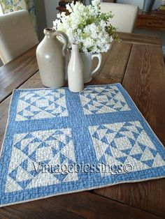 Antique 1880s Blue And White Flying Geese Crib Or Table Quilt 20x20 www.Vintageblessings.com