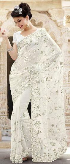 Elegant bridal white saree #southasianwedding #indianwedding