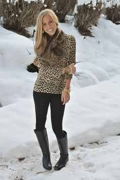 aBree Fashion: animal print + fur: I like this but I think I'd use a different scarf to add maybe a pop of color to the outfit.