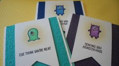 Lawn Fawn Monster Mash stamp and dies, Copic Markers, Embossing Folder, Banner Dies, Google Eyes, and distress ink, fun encouragement card for any age
