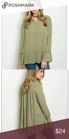 Olive want for Christmas top. This bell sleeve button down top has gorgeous fabric covered buttons. This top is simple, yet dainty and classy. Very J Tops Blouses