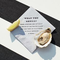 """martha_weddingsFun pun time! Raw-bar napkins at this reception were chic and tongue- in-cheek—reading """"What the Shell?"""" and """"What the Shuck?"""" @chereeberrypaper, such a clever idea! : @bryangardnerphotography 