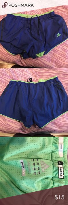 ADIDAS blue and green work out SHORTS Great condition work out SHORTS size large adidas Shorts