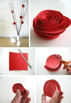 How to Red Rose Paper Flower Cutout by Digirrl