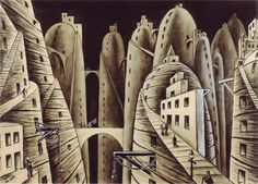 """City and Abysses"",1946  by Xul Solar. The bridges in the air and such are an interesting factor in the landscape of this work."