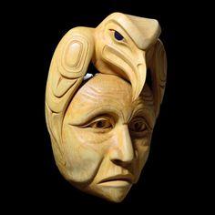 Sharing Wisdom Mask by friend Carol Young (Bagshaw), Haida artist Arte Inuit, Inuit Art, Native American Masks, Haida Art, Tlingit, Native Design, Sculptures, Wood Sculpture, Masks Art