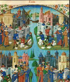 A Construção de Veneza, Sycambria, Cartágo e Roma. Master of the Geneva Latini Jean de Courcy, Chronicle of the Bouquechardière, Rouen, ca. 1450-1475-BL. Harley Ms.4376,fl.150
