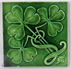 Irish Celtic Clover Art | irish shamrocks under an emerald green glaze the bcak is marked ...