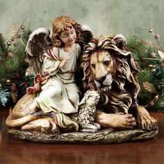 Angel with Lion and Lamb Holiday Table Sculpture