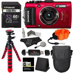 """Olympus TG-4 16 MP Waterproof Digital Camera with 3-Inch LCD (Red) + Lexar 32GB Memory Card + 12"""" Tripod + Camera Case + Polaroid Floating Foam Strap + Polaroid Cleaning Kit + Kit Accessory Bundle. Waterproof to depths of 50 feet, Freeze proof to 14 degrees F, Shockproof to 7 feet, Crushproof to 220 lb. RAW capture, Live Composite, Underwater modes with Underwater HDR. 4X wide-angle optical zoom with fast f2.0 high speed lens. Wi-Fi / GPS / e. Compass -- 1080P HD video. This Ritz Camera…"""