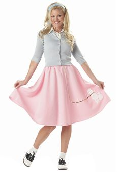 Pink Poodle Skirt Ladies 50s Halloween Costume - You will definitely look the part of a 50's good girl this Halloween with this great pink felt poodle skirt. The skirt is made of a pink heavy felt like material, has an elasticized waist for comfort and fit, and features an adorable silver sequin poodle on the bottom with a matching silver sequin leash. #yyc #poodleskirt #50s #costume