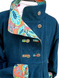 Corduroy Swing Coat Teal Blue Green Jacket Ladies Women Double Breasted Orange Floral Lined Overcoat Maternity Fashion Ready to Ship. $140.00, via Etsy.