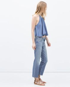 CROPPED JEANS and top from Zara