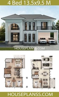 House Plans Design Idea with 4 bedrooms - House Plans Sam House Plans Design Idea with 4 bedroomsThe House has:Building size (m X m) : x size (Sq.m) : size (Square wah) : 68 Sims House Plans, House Layout Plans, Dream House Plans, House Layouts, Cool House Plans, House Plans 2 Story, Modern House Floor Plans, 4 Bedroom House Plans, Basement House Plans