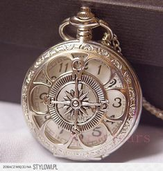 3a267b71a On sale-Steampunk Silver Hollow Six leaf Compass Pocket Watch Necklace Chain