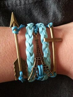 Blue Leather Rope Bracelet Arrow Jewelry Eiffel Tower Cross Charm Sale Expires Today