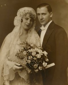 Vintage photo Bride and groom