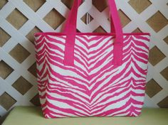 Hot Pink Zebra Print Tote on Etsy, $28.00