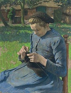 Willy Sluiter - GIRL KNITTING IN FRONT OF A FARM Dutch (1873-1949)