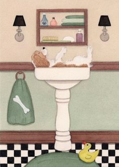 King Charles Cavalier spaniel fills a sink at bath time / Lynch signed folk art print by watercolorqueen on Etsy