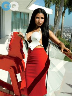 """Nicki Minaj, Cheeky Genius: Photos: Celebrities: GQ; She's into branding these days, particularly her own. In the """"Anaconda"""" video, there are no fewer than five products placed prominently for advertising:"""