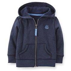 Carters Boys Navy French Terry Hoodie 12 Months -- Click on the image for additional details. (This is an affiliate link) #BabyBoyHoodiesandActive