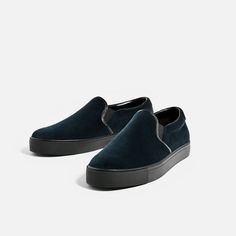 BLUE VELVET SNEAKERS WITHOUT FASTENING