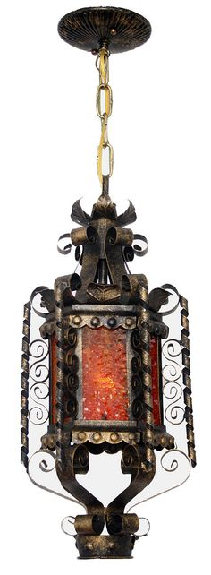 Antique Ceiling Fixture Circa 1940, Single Light, Wrought Iron Lantern With Leaf, Scroll , And Amber Glass. Original Finish - See more at: http://toclighting.com/makehtm.php?lampnum=ac1406of#sthash.EW5LRdNg.dpuf