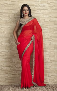 Black Detailed Blouse + Red Sari