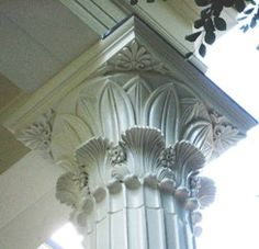 Stylized Corinthian Capital -- Greek Revival Jay House, Rye, NY each side of the dining room Ancient Egyptian Architecture, Classical Architecture, Amazing Architecture, Architecture Details, Stage Set Design, Column Design, Column Capital, Greek Revival Home, Wood Columns