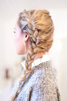 Side braid long blond hair