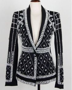 Gorgeous Handmade Beaded Pearls Top Quality Long Sleeve Formal Jacket S-L