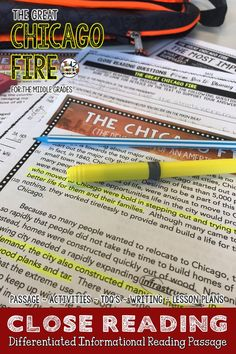 This Differentiated Chicago Fire Close Reading Passage is a part of my American History Close Reading. The passage included is provided in THREE different Lexile reading ranges for upper elementary and middle school. You will also receive an accompanying