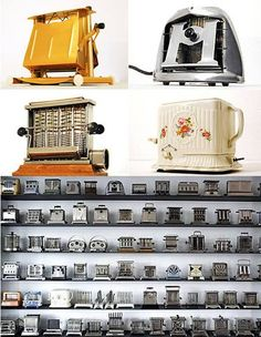 Toaster Collection Jens Veerbeck, owns a unique Toaster Collection which contains over 600 models, including one worth from the He has now created an online toaster museum to disp… Vintage Appliances, Small Kitchen Appliances, Kitchen Items, Mini Kitchen, Vintage Kitchen, Vintage Toaster, Toast Rack, Vintage Stoves, Mocca