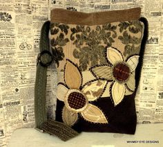 Crossbody Hobo Bag from repurposed fabrics by WhimsyEyeDesigns on Etsy