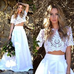Sexy Dress Long Two Pieces Bridal Gown Short Sleeve White Bride Dresses Cheap Floor Length Iullsion Bodice Lace Formal Wear Custom Made Vintage Inspired Wedding Dress Vintage Lace Wedding Gowns From Lovemydress, $123.47| Dhgate.Com