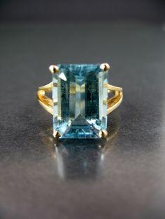Estate Emerald Cut Blue Topaz 10k Yellow Gold Ring