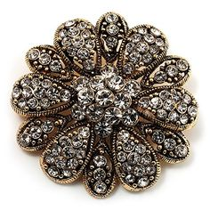 Buy Vintage Swarovski Crystal Floral Brooch (Antique Gold) - Topvintagestyle.com ✓ FREE DELIVERY possible on eligible purchases