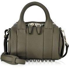 Alexander Wang Handbags Mini Rockie Grass Matte Soft Pebbled Leather... ($835) ❤ liked on Polyvore featuring bags, handbags, alexander wang handbags, studded purse, handbags purses, mini satchel and pebbled leather handbags